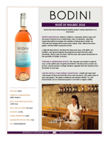 Rosé of Malbec 2016 Product Sheet