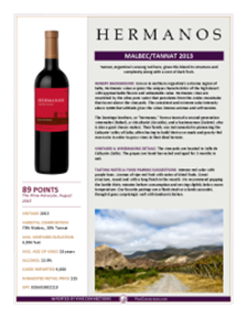 Malbec/Tannat 2013 Product Sheet