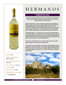 Torrontes 2015 Product Sheet
