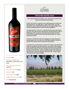 Tinto Red Blend 2014 Product Sheet