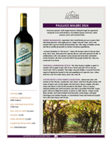 Paulucci Malbec 2014 Product Sheet