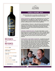 Pizzella Malbec 2014 Product Sheet