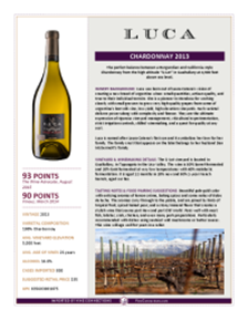 Chardonnay 2013 Product Sheet