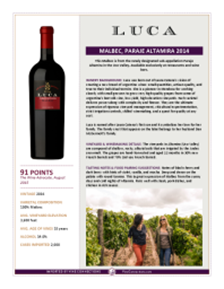 Malbec, Paraje Altamira 2014 Product Sheet