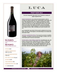 Pinot Noir 2013 Product Sheet