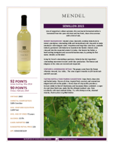 Semillon 2015 Product Sheet
