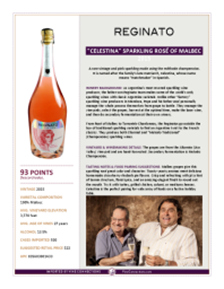 """Celestina"" Sparkling Rosé of Malbec 2015 Product Sheet"