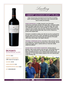 Cabernet Sauvignon Wight Vyd 2012 Product Sheet