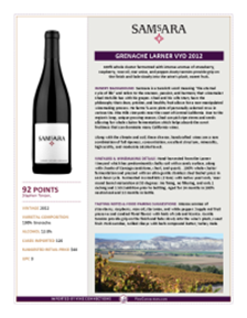 Grenache Larner Vyd 2012 Product Sheet