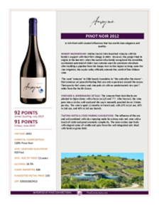 Pinot Noir 2012 Product Sheet