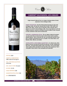 Cabernet Sauvignon, Los Lingues Vineyard 2014 Product Sheet
