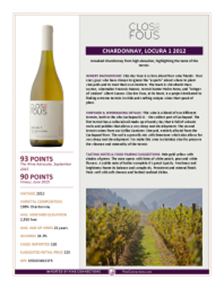 Chardonnay, Locura 1 2012 Product Sheet
