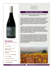 Pinot Noir, Latuffa 2012 Product Sheet