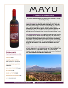 Carmenere Syrah 2013 Product Sheet