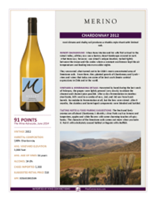 Chardonnay 2012 Product Sheet