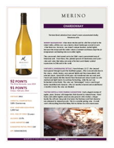 Chardonnay  Limestone Hill 2012 Product Sheet