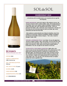 Chardonnay 2014 Product Sheet