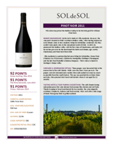 Pinot Noir 2011 Product Sheet