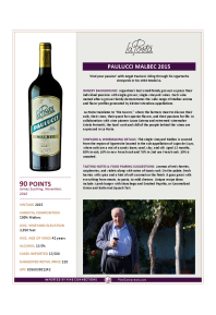 Paulucci Malbec 2015 Product Sheet