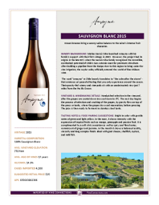 Sauvignon Blanc 2015 Product Sheet