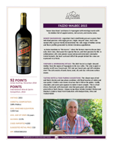 Fazzio Malbec 2015 Product Sheet