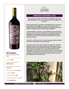 Armando Bonarda 2015 Product Sheet