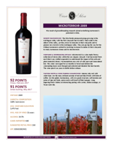 Microterroir 2009 Product Sheet