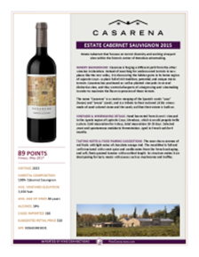 Estate Cabernet Sauvignon 2015 Product Sheet