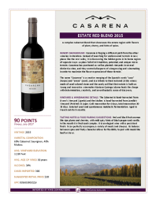 Estate Red Blend 2015 Product Sheet
