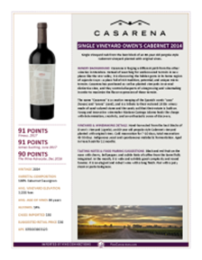 Single Vineyard Owen's Cabernet 2014 Product Sheet