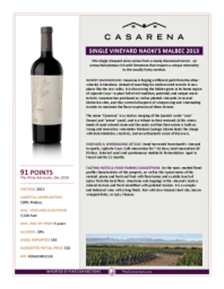 Single Vineyard Naoki's Malbec 2013 Product Sheet