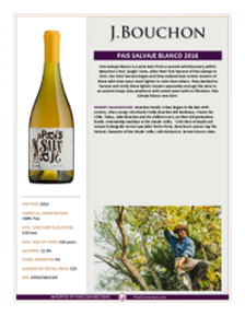 Pais Salvaje Blanco 2016 Product Sheet