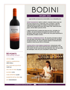 Malbec 2016 Product Sheet