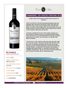 Carmenere, Los Lingues Vineyard 2015 Product Sheet
