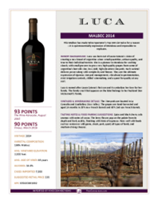 Malbec 2014 Product Sheet