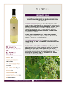 Semillon 2016 Product Sheet