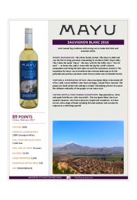 Sauvignon Blanc 2016 Product Sheet