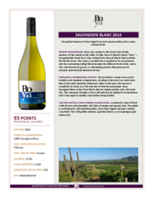 Sauvignon Blanc 2014 Product Sheet