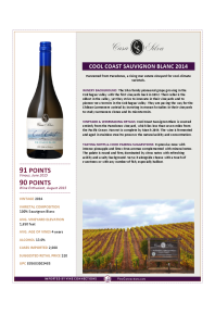 Cool Coast Sauvignon Blanc 2014 Product Sheet