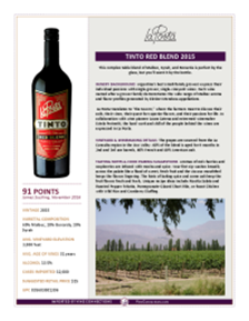 Tinto Red Blend 2015 Product Sheet