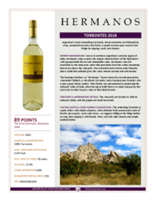 Torrontes 2016 Product Sheet