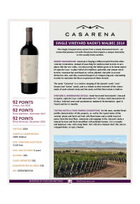 Single Vineyard Naoki's Malbec 2014 Product Sheet