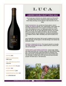 Laborde Double  Select Syrah 2014 Product Sheet