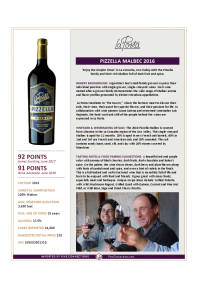 Pizzella Malbec 2016 Product Sheet