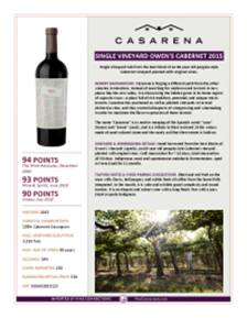 Single Vineyard Owen's Cabernet 2015 Product Sheet