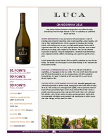 Chardonnay 2016 Product Sheet