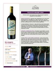 Paulucci Malbec 2016 Product Sheet