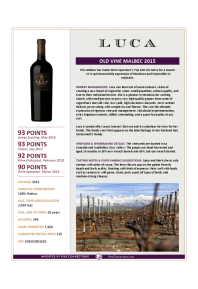 Old Vine Malbec 2015 Product Sheet