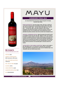 Carmenere Syrah 2015 Product Sheet