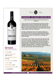 Carmenere, Los Lingues Vineyard 2016 Product Sheet